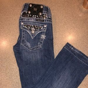 Size 26 miss me boot cut jeans bling